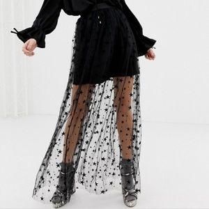 Dresses & Skirts - Mesh Tulle Star Tutu long Skirt Black Goth fairy